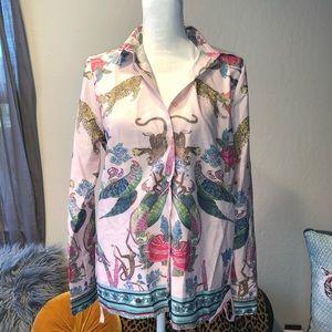 zara tropical animal print blouse